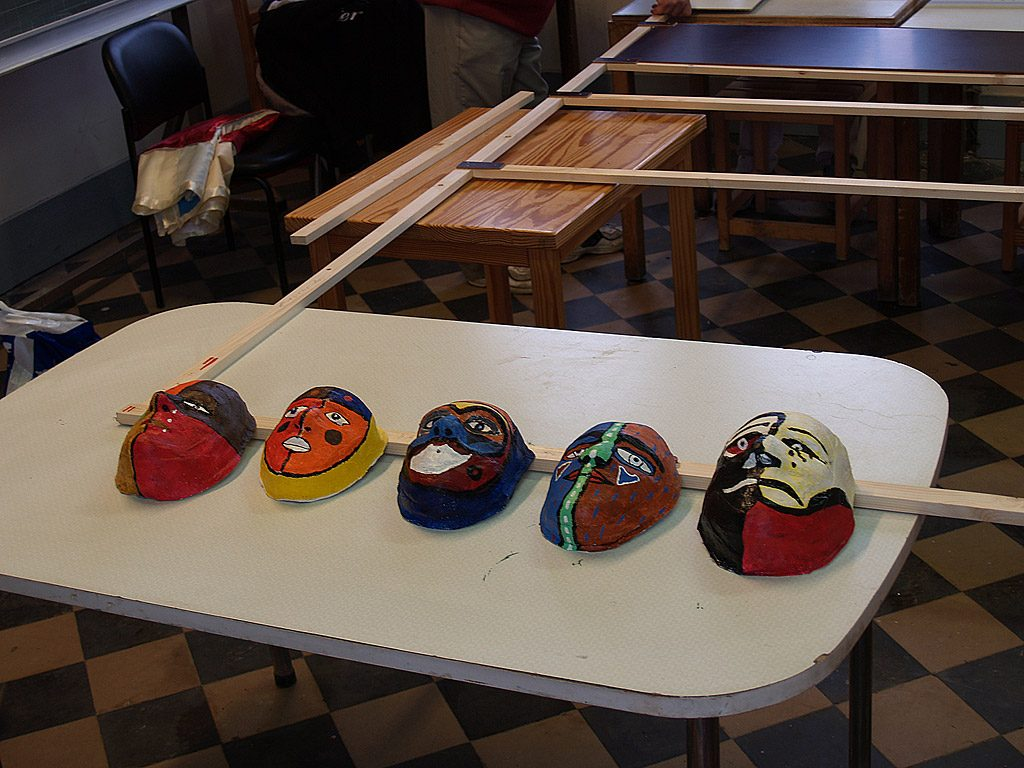 Masks created during the workshop at Hoogstraten 2006